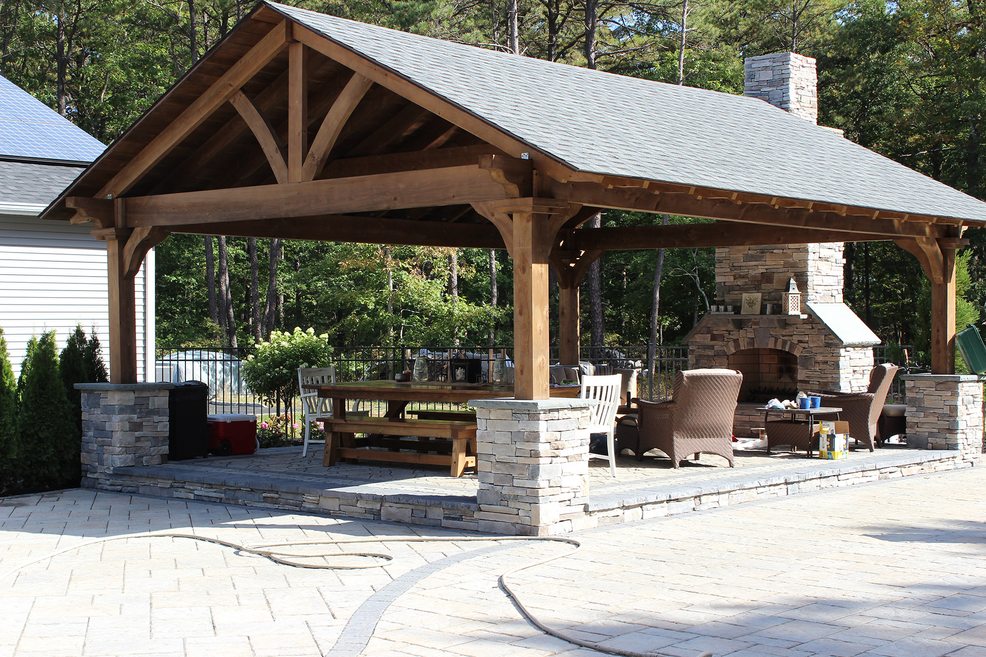 Brick gazebo in long island patio.