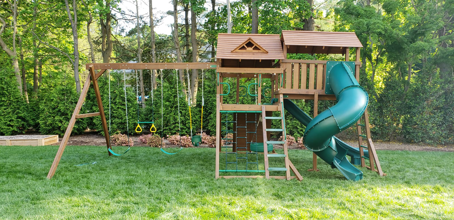 Wood swing set in Suffolk County NY.
